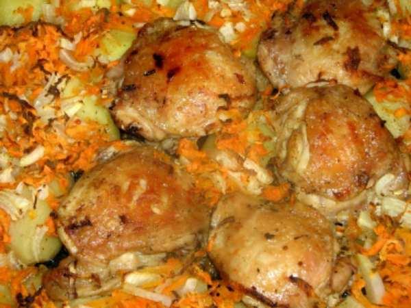 Как запечь курицу в духовке с картошкой на протвине рецепт пошагово в